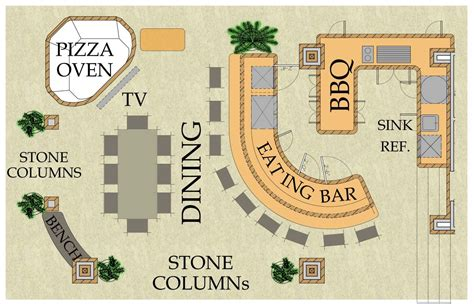 outdoor floor plan house plan outdoor living kitchen pizza oven bar and