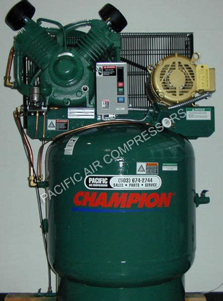 1wd61 chion vrv7 8 3 phase air compressor 7 5hp 2 stage 80 gal starter pacific air compressors