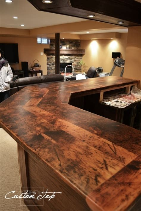 Custom Bar Top Ideas by Reclaimed Wood Bar Kitchen Island Tops Hd Threshing