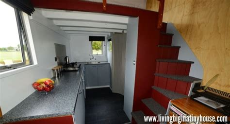 tiny home with a big kitchen artist builds amazing 161 sq ft mortgage free tiny house