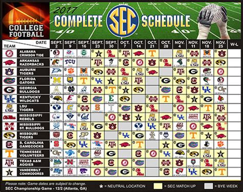 Section 1 Football Schedule by 2017 Complete Sec College Football Schedule Magnet Ncaa Calendar Ebay