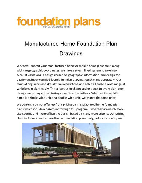manufactured home foundation plan drawings by foundation