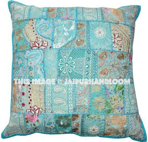 Handmade Floor Cushions - large blue patchwork floor cushions indian handmade