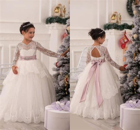 Vintage Flower Girls Dresses For Wedding Lace Long Sleeves
