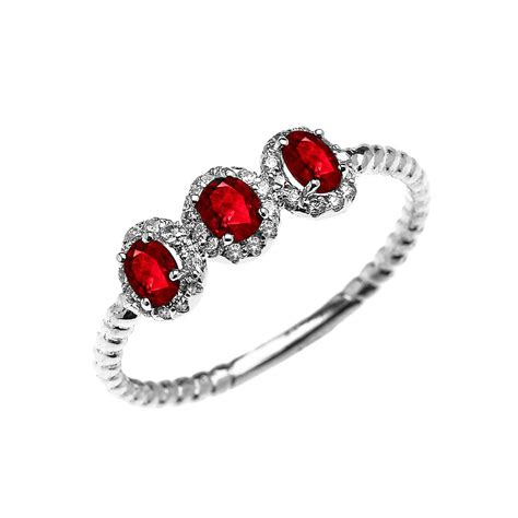 Ruby 29 3ct 0 3ct ruby three halo rope promise ring in 9ct white