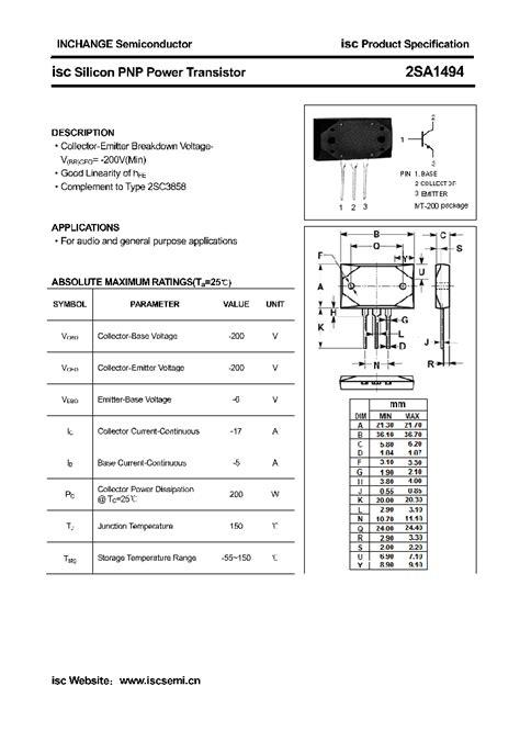 transistor pnp en pdf 2sa1494 4336607 pdf datasheet ic on line