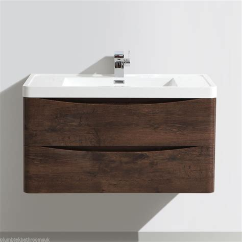Bathroom Wall Hung Furniture 900mm Designer Chestnut Bathroom Wall Hung Vanity Unit Furniture Basin Ebay