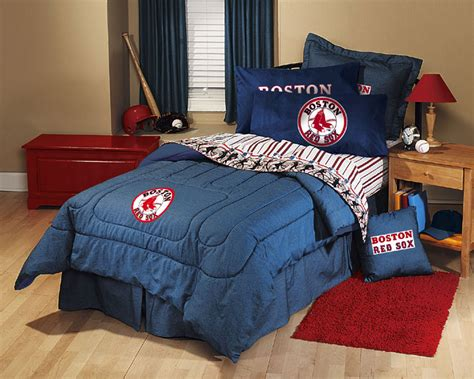 boston red sox team denim twin comforter sheet set