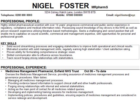 Pharmacist Resume Sles Free by Nihr Research Cv Template Gallery Certificate Design And