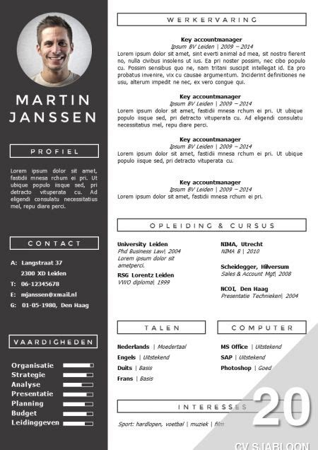 Modern Cv by Modern Cv Sjabloon Zelf Te Bewerken In Ms Office