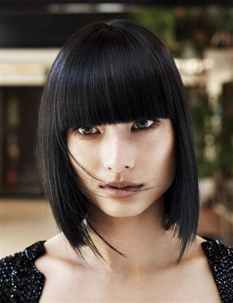 midi length with blunt fringe mid length haircuts with bangs