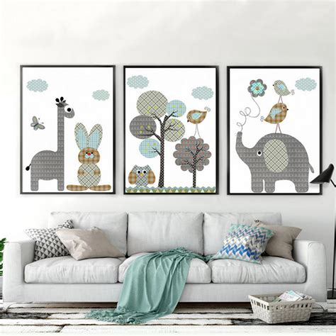 Baby Home Decor Animals Canvas Painting Nursery Wall