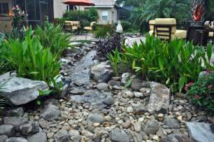 Waterfall stream with dry creek tropical landscape tampa by