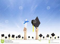 Hand Holding Graduation Hats And Diploma Stock Image ... Diploma Scroll Vector