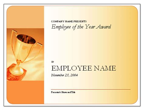 employee of the year certificate template employee of the year award free certificate templates in