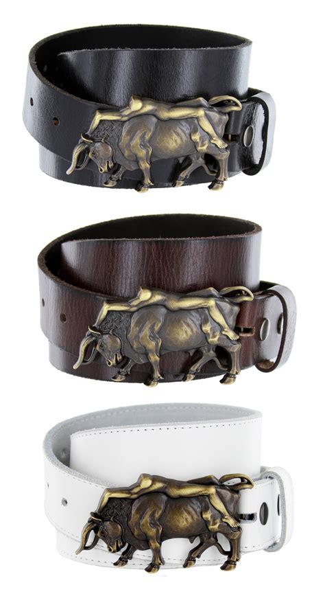 bull belt buckle casual jean leather belt