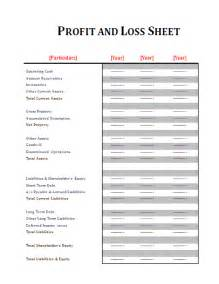 profit and loss and balance sheet template profit and loss sheet template free business templates