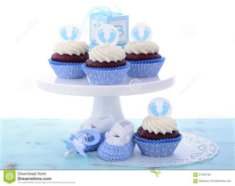 its a boy blue baby shower cupcakes stock photo image