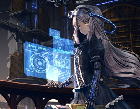 wallpaper anime girl cyborg black dress sci fi long