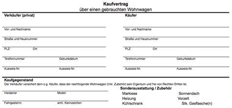 Motorrad Online Vertrag by Kaufvertrag Muster 252 Ber Ein En Gebrauchten Wohnwagen