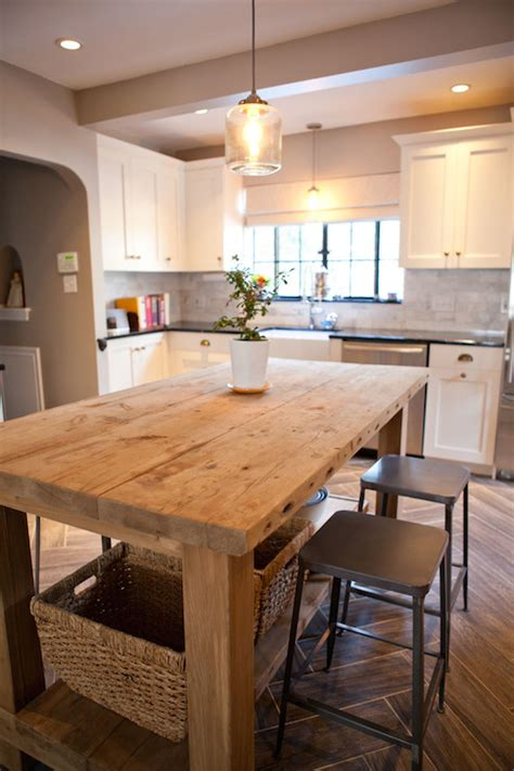 wooden kitchen island salvaged wood island transitional kitchen tess