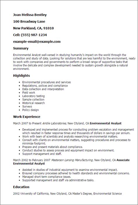Environmental Analyst Sle Resume professional environmental analyst templates to showcase your talent myperfectresume