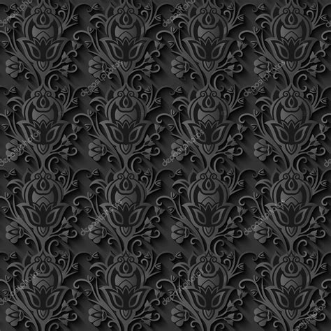 Floral Seamless floral 3d seamless black paper pattern background vector
