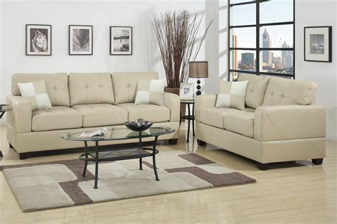 poundex f7342 beige leather sofa and loveseat set
