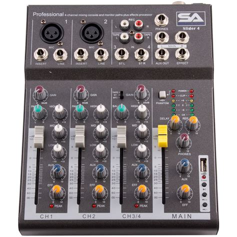 Mixer Monitor Audio seismic audio slider 4 4 channel mixer console with