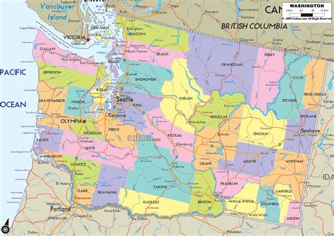 washing state map washington mapa