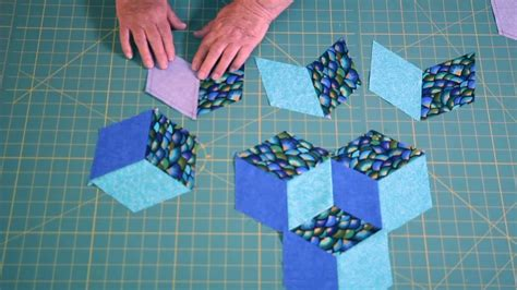 easy tumbling blocks learn   mark  sew tumbling