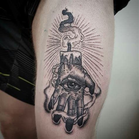 hand of glory tattoo of woodcut style by perrins reinkarnated
