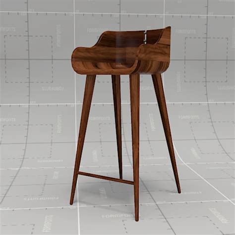 Kurf Walnut Counter Stool by Walnut Bar Stool 3d Model Formfonts 3d Models Textures