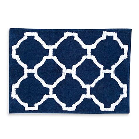 Blue And White Bathroom Rugs Rosenwald Hton Links 20 Inch X 30 Inch Bath Rug In Navy White Bed Bath Beyond