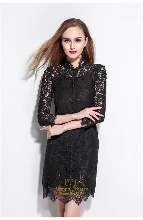 High Neck Sleeve A Line Dress black lace high neck a line dress with 3 4 sleeves