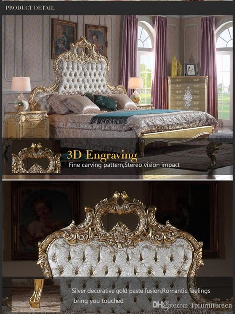 italian luxury bed antique royalty bedroom furniture solid wood carved furniture  gold