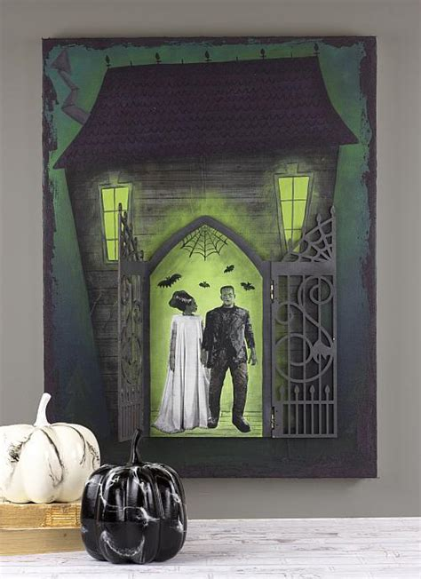 mixed media haunted house  opening door project
