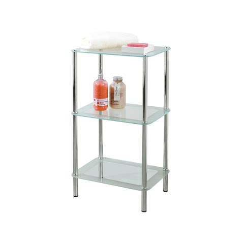 glass bathroom stand buy free standing 3 tier rectangular glass bathroom shelf