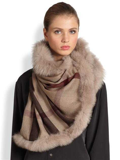 burberry fox fur trimmed check scarf in lyst