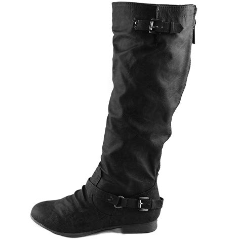 womens bike riding boots women mid calf knee high motorcycle riding military combat