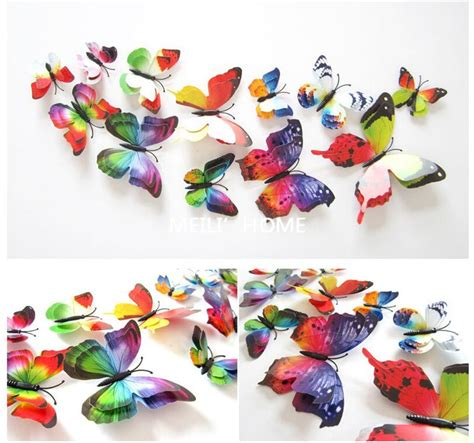 Wall Sticker 3d Butterfly Wall Sticker Stiker Dinding Kupu Kupu 3d 12 pcs lot pvc butterfly decals 3d wall stickers home decor poster for rooms adhesive to