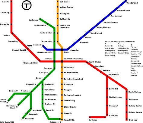 boston map with t stops transportation