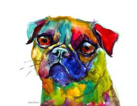 colorful pug dog painting painting by svetlana novikova