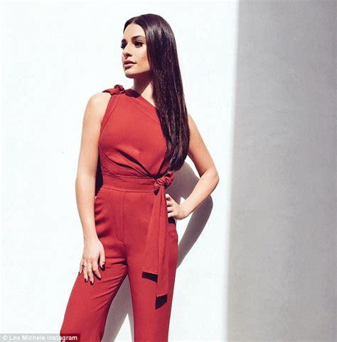 Lea Jumpsuit lea michele oozes sexiness in crimson jumpsuit on