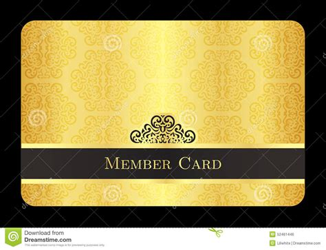 membership card design template golden member card with classic vintage pattern stock
