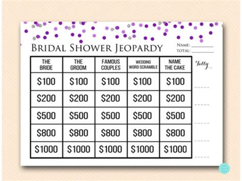free printable bridal shower jeopardy game purple silver jeopardy bridal shower magical printable