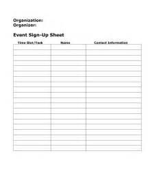 event sign up sheet template free blank sign up sheet sles vlashed