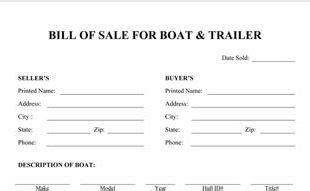 Bill Of Sale Template Nh Boat Bill Of Sale Template