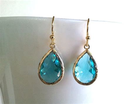 sea green teardrop gold earrings teal green bridesmaid