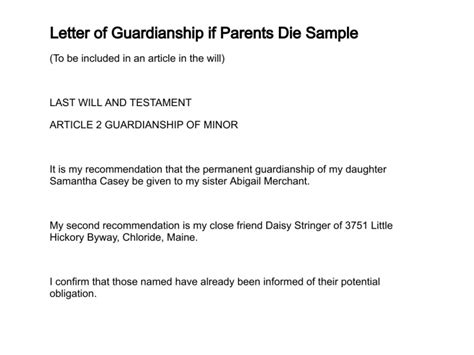 naming a guardian for your child template letter of guardianship